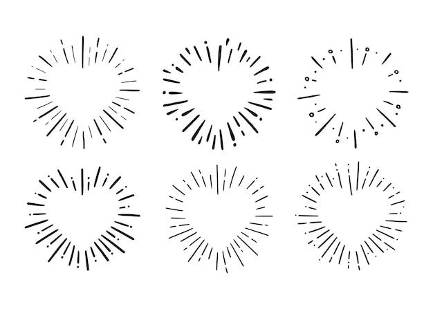 ハート型バースト手描き