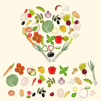 Heart shape by various vegetables