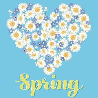하트 모양. 파란색 배경에 카모마일 및 물 망 초 꽃.