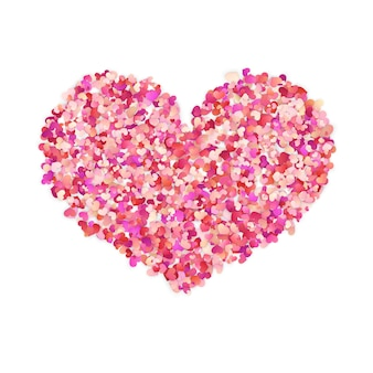 Heart shape color confetti. valentines petals top view.  on white background.