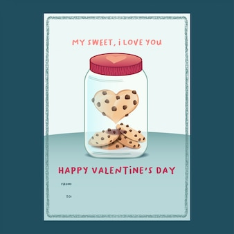 Heart-shape cookie in a jar valentine card