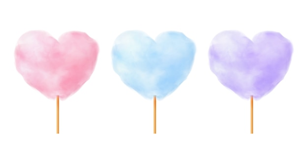 Heart shape cotton candy set. realistic pink blue purple heart shape cotton candies on wooden sticks.