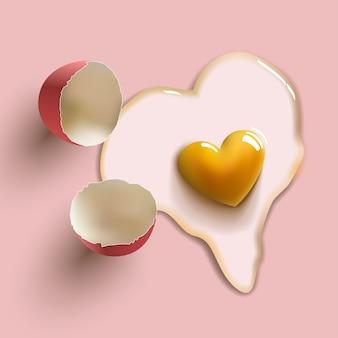 Heart shape cracked raw egg