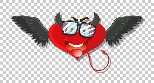 Дьявол в форме сердца с выражением лица