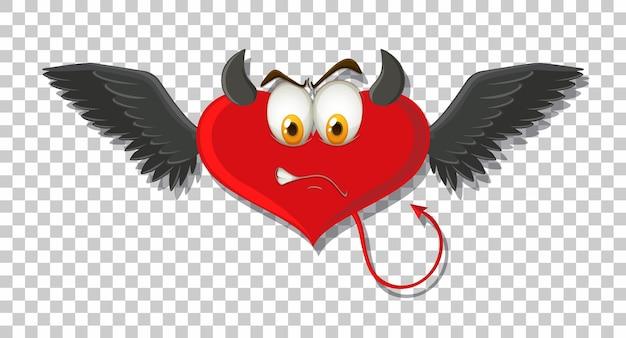 Diavolo a forma di cuore con espressione facciale