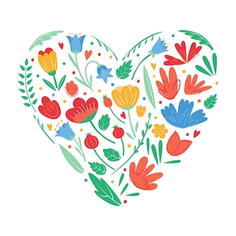 Heart shape of flowers for greeting card romantic postcard
