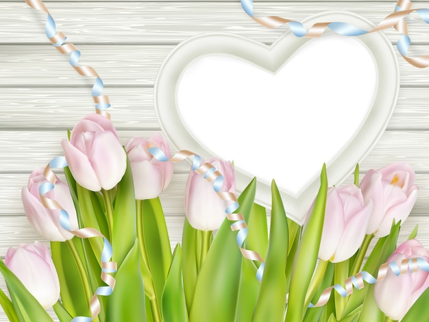Heart shape frame with tulips.