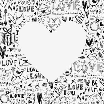 붓글씨 텍스트, 하트, 편지, 새에서 심장 모양 손으로 그린 요소