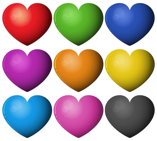 다른 색상의 심장 모양