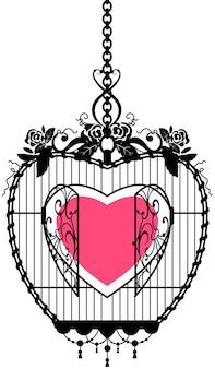 Форма сердца в открытой клетке символ свободы любви. изолированные на белом