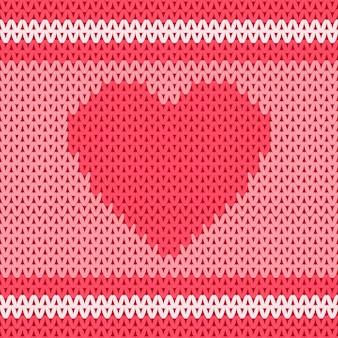 Форма сердца в традиционной вязаной шерстяной ткани бесшовные модели.