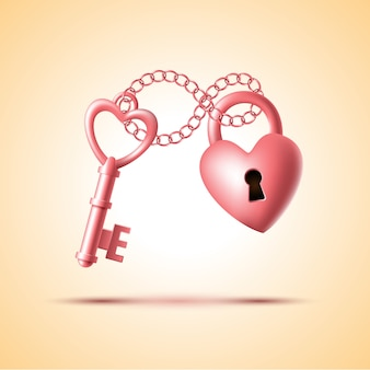 Heart shape lock with key