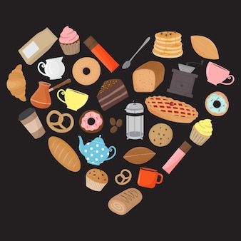 Heart shape made of bakery products coffee and tea elements