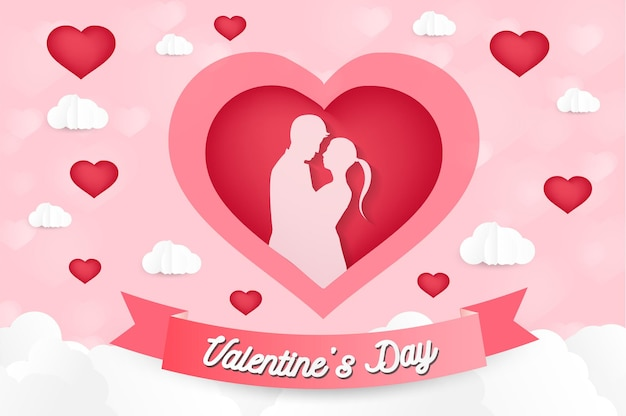 A heart shape paper art style valentine day origami made hot air balloon