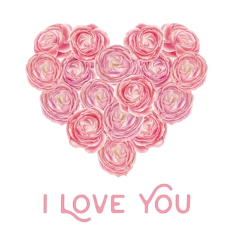 Heart shape of pink roses