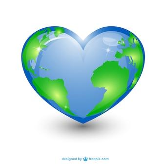 Heart shape planet earth