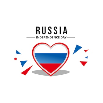 Heart shape russia flag vector
