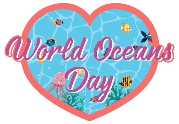 Шаблон в форме сердца с баннером всемирного дня океана