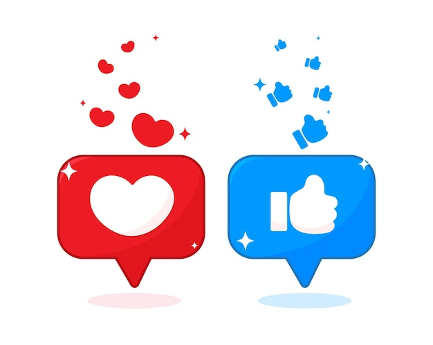 Heart shape and thumb icon on social media illustration