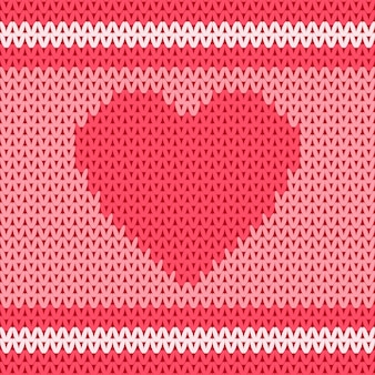 Heart shape in traditional knitted wool fabric seamless pattern design