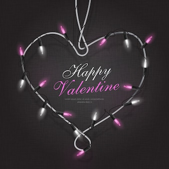 文字列ライトイラストハートバレンタインフレーム