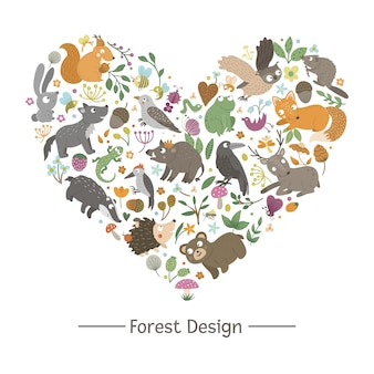 Heart shape with animals and forest elements