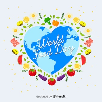 Heart shape of world for food day