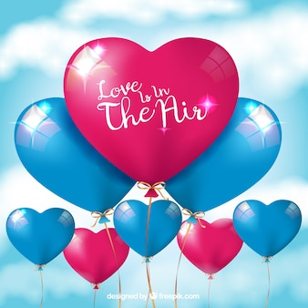 Heart-shaped balloon background