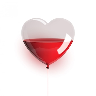 Heart shaped balloon with blood liquid isolated on white background. illustration.