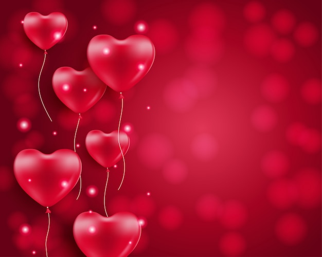 Heart shaped balloons on blurred background