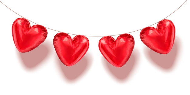 Heart shaped balloons hanging in the air, 3d illustration