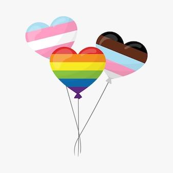 성소수자 깃발인 성소수자 깃발 색상의 하트 모양 풍선. 평면 그림