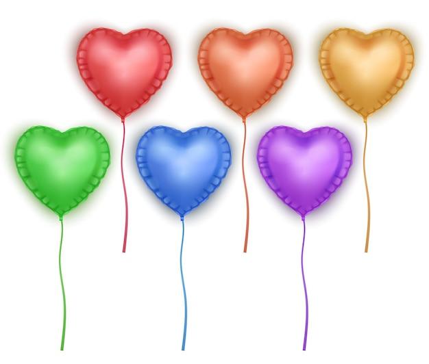 심장 모양의 풍선 세트. 발렌타인 데이 축제 장식 요소