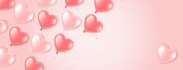 Heart shaped banner with pink balloons