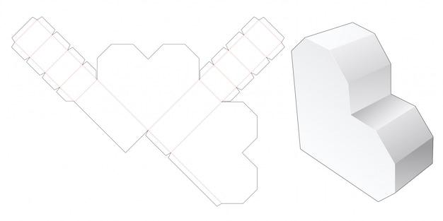 Heart shaped box die cut template