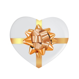 Heart shaped box with bow and ribbon.