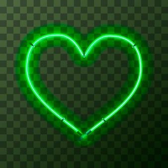 透明な背景にハート型の明るい緑のネオンフレーム