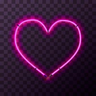 透明な背景にハート型の明るいピンクのネオンフレーム