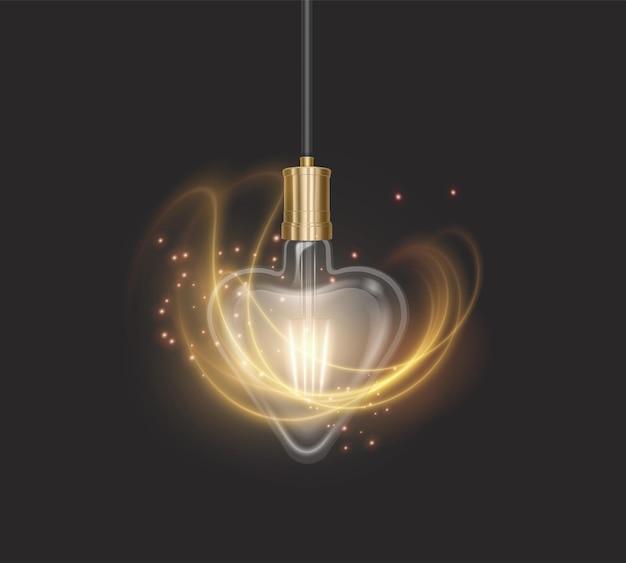 Лампа в форме сердца в стиле ретро на темной подложке, светящаяся лампочка в реалистичном стиле
