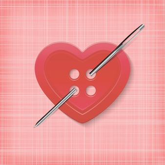 Heart-shaped button with a needle on a striped background