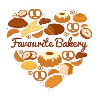 Heart shaped cakes  sweets and bread badge with central text - favourite bakery - with pretzels  muffins  loaves of bread  croissants  cakes and donuts  vector illustration on white