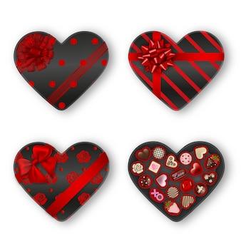 ハート型のチョコレートボックス。バレンタインのチョコレート