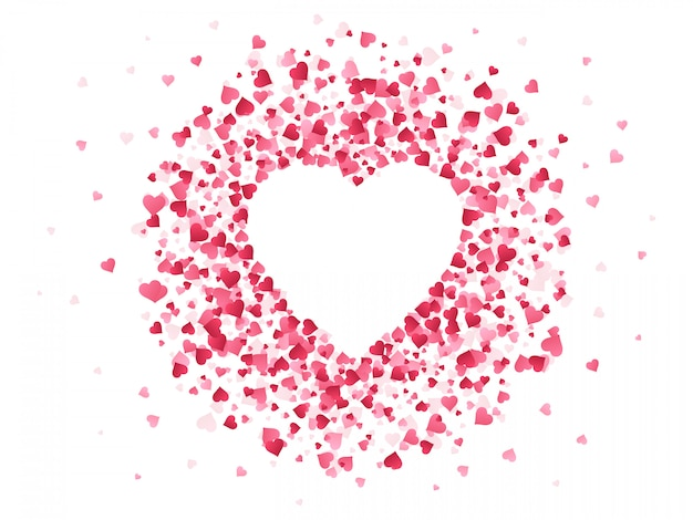 ハート型の紙吹雪。幸せなバレンタインデーの素敵なフレーム、ハートイラスト背景の素敵な赤い紙吹雪紙の形をした結婚式記念日グリーティングカード。装飾的なロマンチックな背景