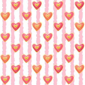 Heart shaped cookies with pink glaze, seamless pattern