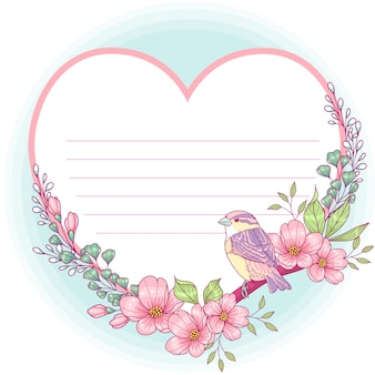 Heart shaped floral greeting card