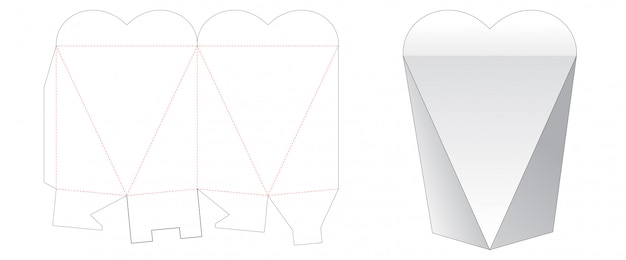 Heart shaped gift box cut template