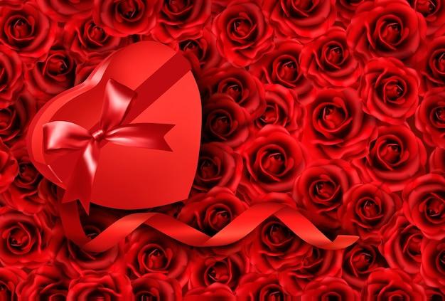 장미 바탕에 하트 모양의 선물 상자입니다. .