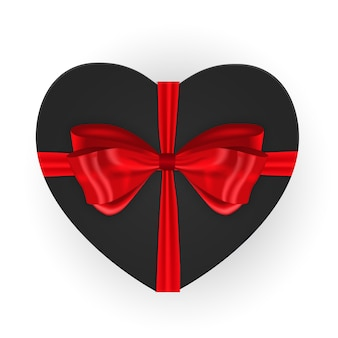 Heart shaped gift box with bow