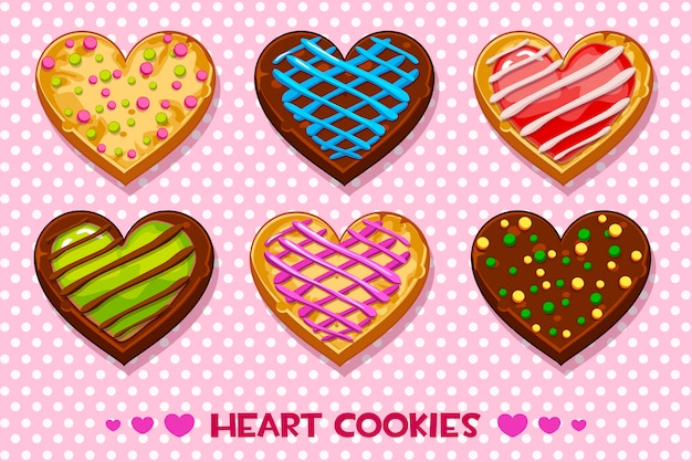 Heart shaped gingerbread and chocolate cookies with multi-colored glaze, set happy valentines day