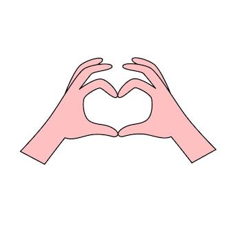 Руки в форме сердца. символ любви. простой свадебный значок. векторные иллюстрации в стиле каракули